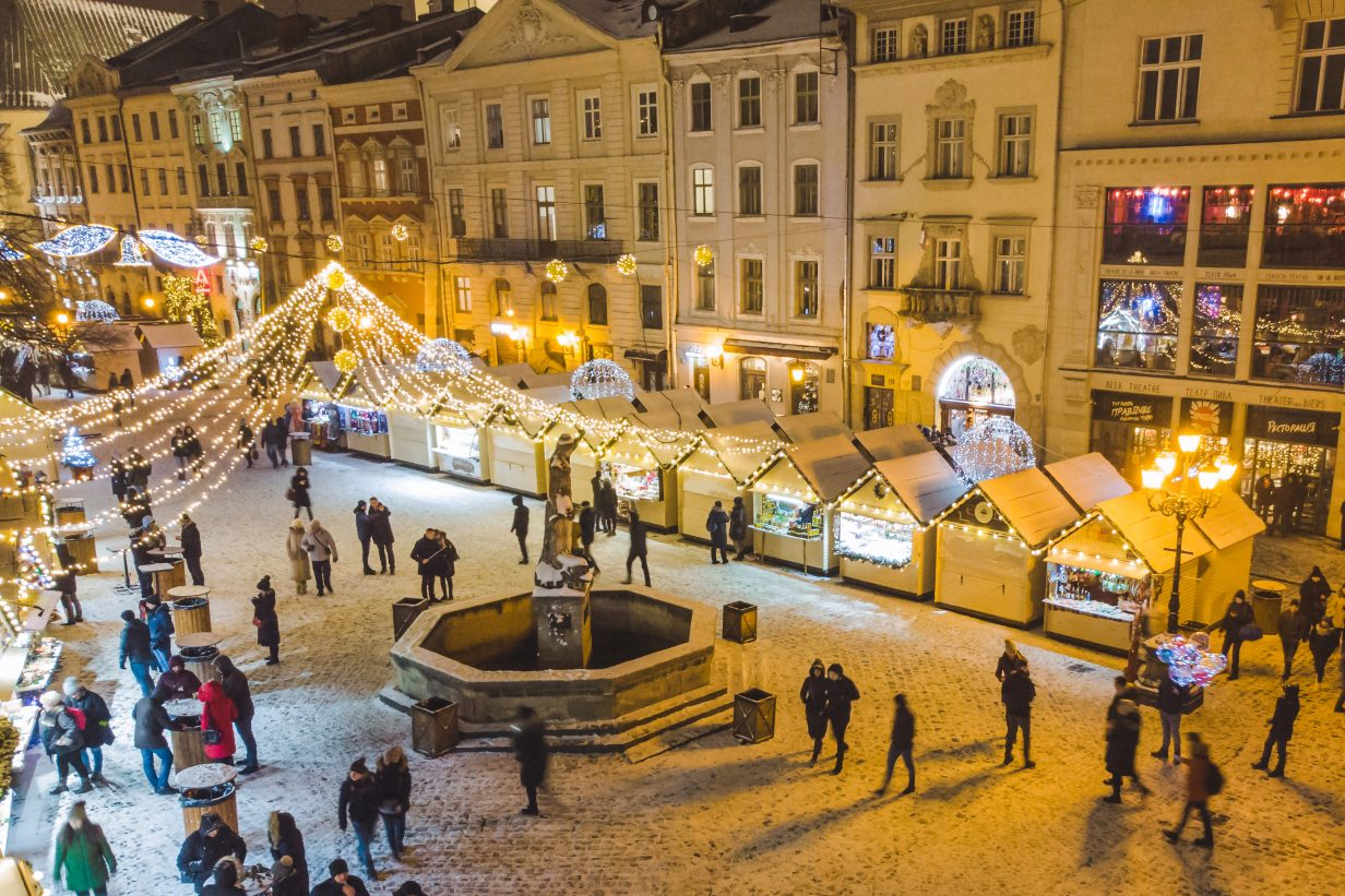aerial view on Christmas fest